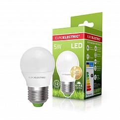 """Светодиодная EUROELECTRIC LED Лампа """"Шар"""" ЕКО G45 5W E27 4000К"""