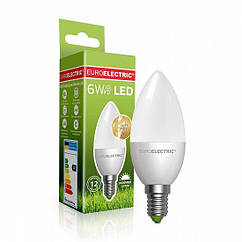 "Светодиодная EUROELECTRIC LED Лампа ""Свеча"" 6W E14 4000K"