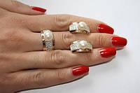 Женский серебряный гарнитур арт.050 с напайками золота 375 и жемчугом