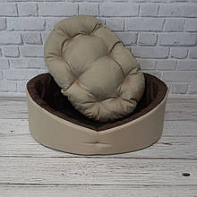 Лежак / лежанка спальное место для собак и котов бежевый с коричневым