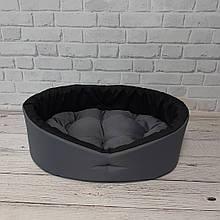 Лежак домик лежанка спальное место для собак и котов серый/черный