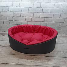Лежанка для животных, спальное место лежак для собак и котов серый/розовый