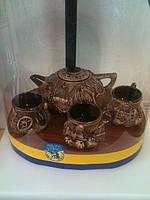Украинский чайный  набор состоит из Чайника + 3 кружки - оригинальный сувенир и подарок недорого