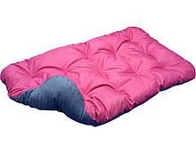 Лежак лежанка спальное место для собак и кошек. Двусторонний Розовый + Cерый