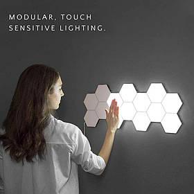 """Сенсорный LED светильник """"Соты"""" на магнитах 10 модулей"""