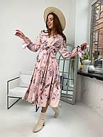 Женское платье миди с цветочным принтом. Софт