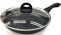 Cковорідка з кришкою та мраморним покриттям Benson 24 см BN-568, фото 1