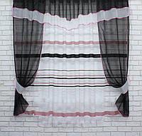 Кухонный комплект, (280х170см.) шторки с тюлью и ламбрекеном. Цвет чёрный с белым. Код 082к 50-429, фото 1