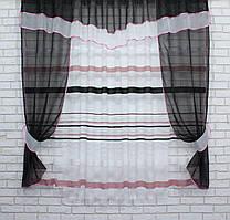 Кухонный комплект, (280х170см.) шторки с тюлью и ламбрекеном. Цвет чёрный с белым. Код 082к 50-429