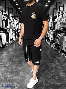 Спортивный Мужской комплект черный Футболка и Шорты