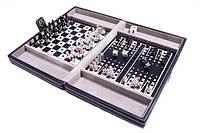 Дорожный игровой набор Duke из 3 игр в кожаном кейсе: шахматы, шашки, нарды