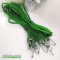 Гумка кріпильна для багажу плоска з гачками 1.5 м 10 мм / 10 шт/упак джгут гумовий зелений колір