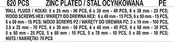 Набір шурупів і дюбелів 620 шт YATO YT-36500, фото 3