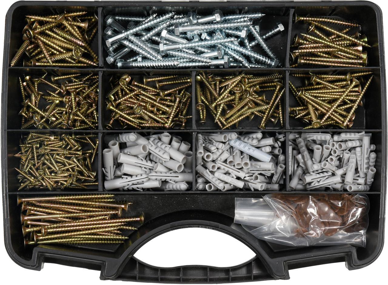 Набір шурупів і дюбелів 620 шт YATO YT-36500