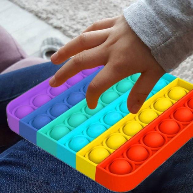 Мягкая игрушка разноцветная Поп ит Бесконечная пупырка антистресс Pop It Квадрат