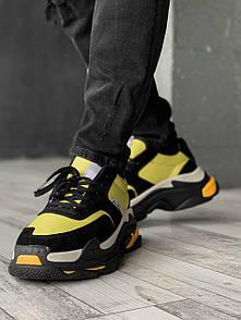 Мужские кроссовки Balenciaga Triple S V2.0 Black Yellow