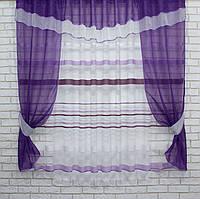 Кухонный комплект, (280х170см.) шторки с тюлью и ламбрекеном. Цвет фиолетовый с белым. Код 082к 50-430