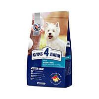 СРОК до 08.2021 Корм Клуб 4 Лапи Club4 Paws Small Breeds гіпоалергенний для собак дрібних порід з ягням14 кг
