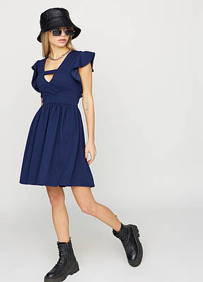 Коротке літнє темно-синє плаття з воланами на плечах