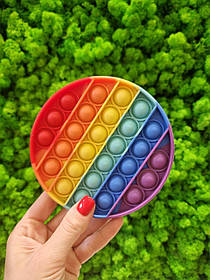 Вічна нескінченна пупирка Pop It Simple Dimple Круг (Push Pop Bubble Fidget Поп Іт Сімпл Дімпл) різнокольорови