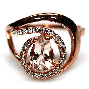 Серебряное кольцо с натуральным морганитом