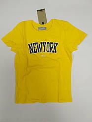Стильная желтая футболка на мальчика подростка New York на рост 116-122 см