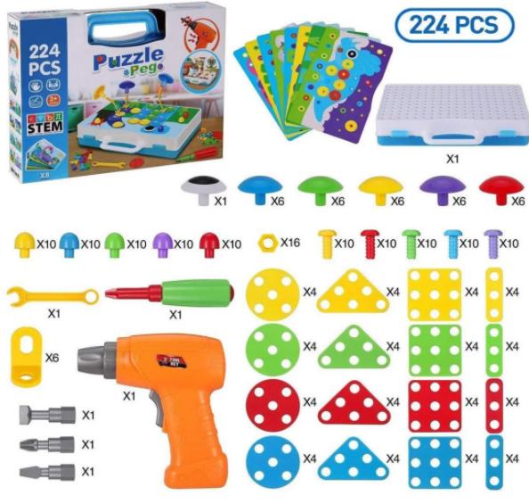 """Розвиваючий конструктор на 224 деталі Tu Le Hui """"Puzzle Peg"""" чемодан TLH-29"""