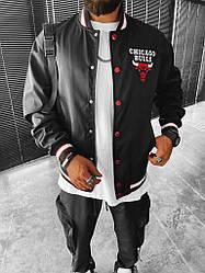 Чоловічий бомбер Chicago Bulls (чорний з білим і червоним) спортивна куртка на літо і демисезон Sc86
