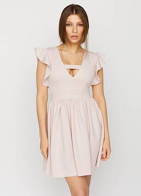 Літнє плаття кльош короткий пудровое