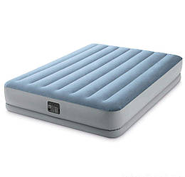 Двухспальная надувная матрас-кровать INTEX 152x203x36 см со встроенным электронасосом (плюш) ИНТЕКС серый