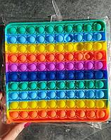 Сенсорная игрушка Pop It Fidget Rainbow антистресс Большой размер XXL 20см, поп ит, Квадрат Радуга