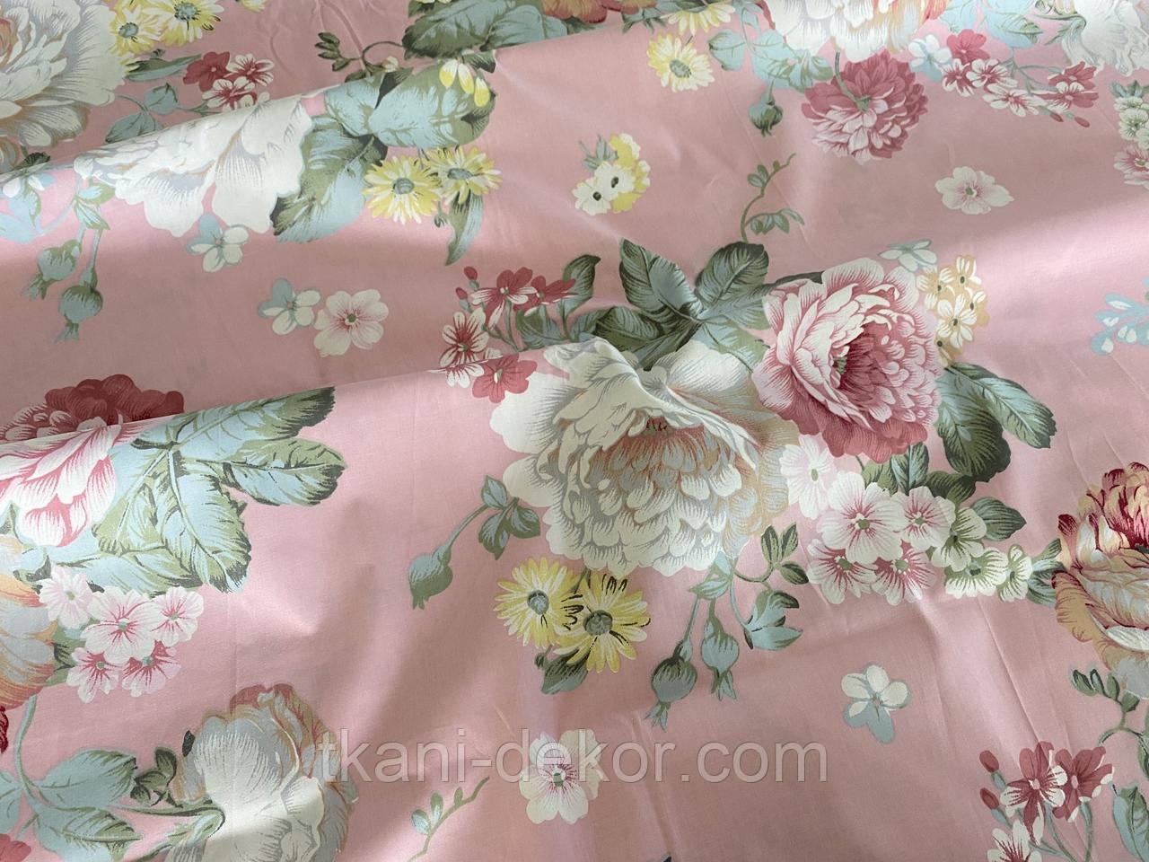 Сатин (хлопковая ткань) на розовом крупные пионы