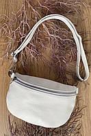НОВИНКА !Шкіряна жіноча сумка-бананка ,білого кольору !