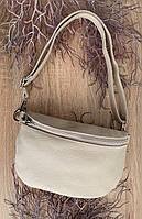 Світло-бежева сумка на пояс , бананка жіноча з натуральної шкіри