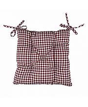 Подушка на стілець табурет бавовна Клітка бордо