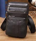 Сумка чоловіча через плече XD 9438 шкіряна для мобільного телефону колір чорний, фото 3