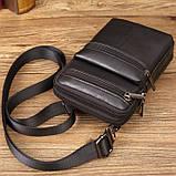 Сумка чоловіча через плече XD 9438 шкіряна для мобільного телефону колір чорний, фото 4