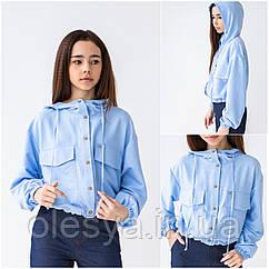 Блузка для девочек с капюшоном Ирма тм BrilliAnt Размеры 146- 170 Цвет голубой