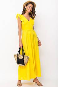 Яркий желтый сарафан лен с вискозой с открытой спиной и рюшами 42-48