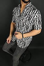 Рубашка мужская летняя тонкая с принтом (вискон) Турция О Д