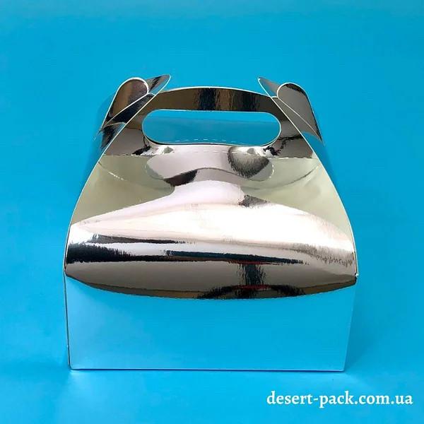 """Коробка для десертів """"Максі"""" 161х161х70 мм, срібло"""