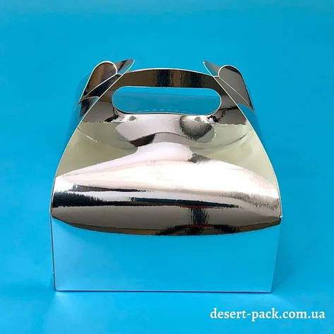 """Коробка для десертів """"Максі"""" 161х161х70 мм, срібло, фото 2"""