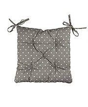 Подушка на стілець табурет бавовна Горох сірий