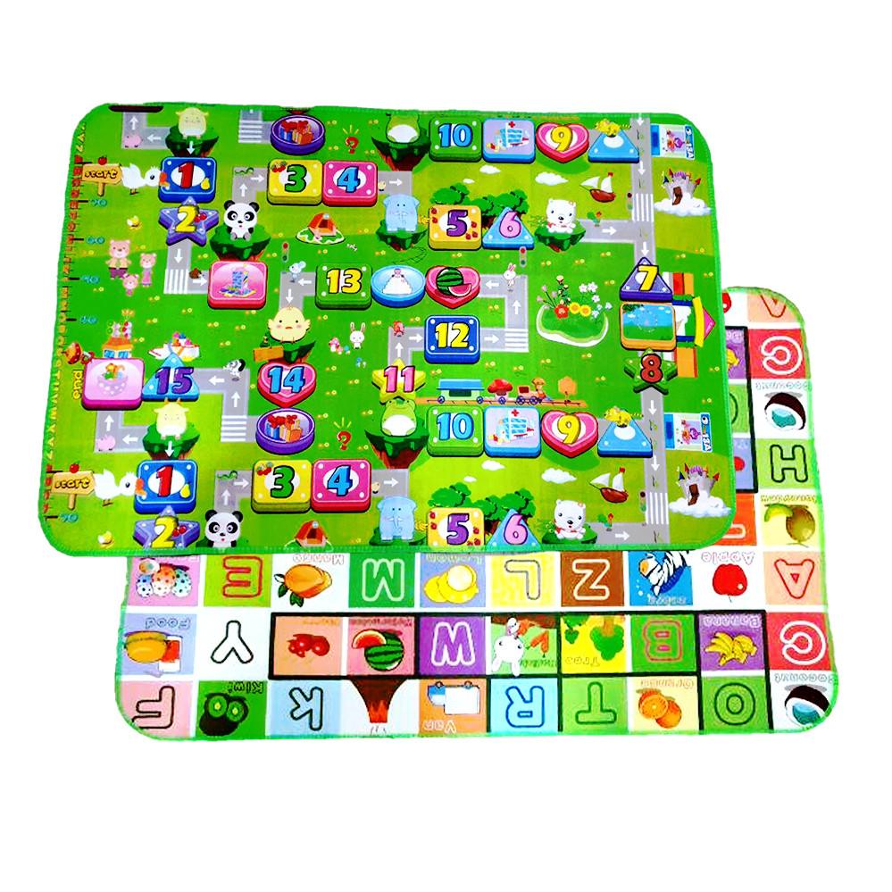 Дитячий килимок двосторонній розвиває букви цифри 120х180 термокилимок для дітей Ігровий мат