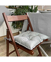 Подушка на стілець табурет бавовна Сіра