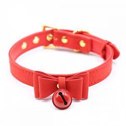 Ошейник красный замшевый Bow and Bell RED
