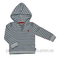 Дитячий бавовняний светр з капюшоном в сіро-кремову смужку (р. 116-152) (Quadrifoglio, Польща)