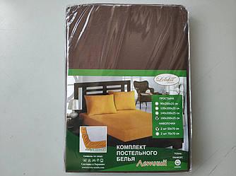 Постельное белье Летнее ранфорс простынь на резинке с наволочками Коричневый темный Лелека Текстиль