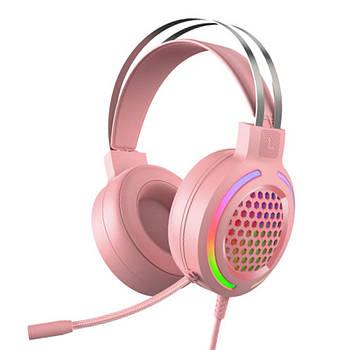 Проводная гарнитура FOREV FV-G99 Pink наушники с микрофоном 2х3.5 мм + USB для смартфона ПК