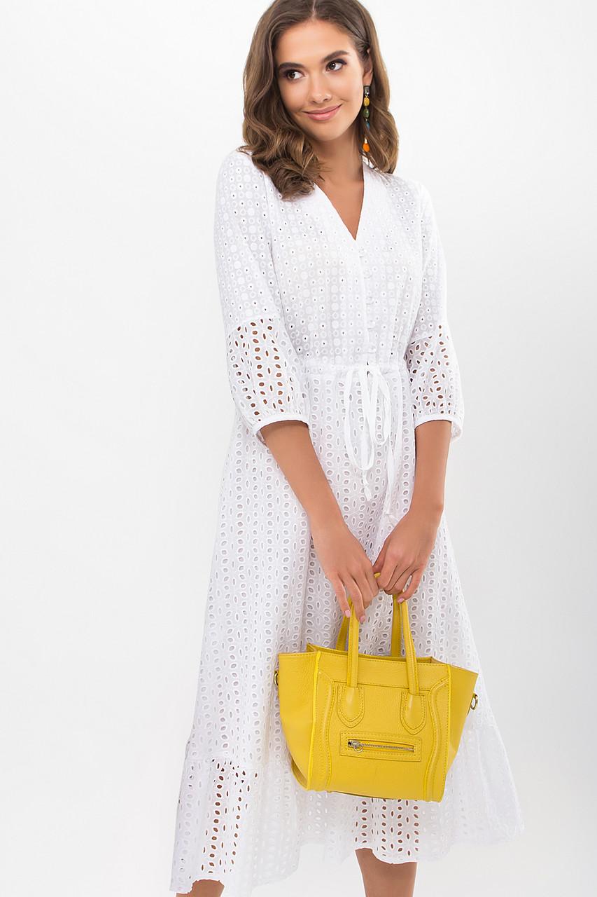 Шикарное белое платье из прошвы и батиста длинное платье  S M L XL
